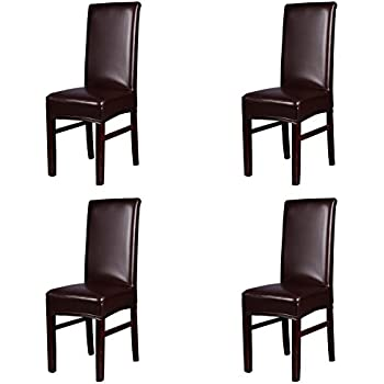 This Item Dining Chair Covers My Decor Solid Pu Leather Waterproof Stretch Protctor Cover Slipcover Coffee 4 Pack