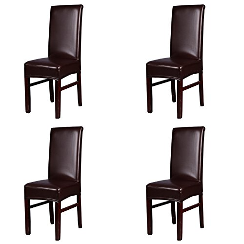 Dining Chair Covers, My Decor Solid Pu Leather Waterproof Stretch Dining Chair Protctor Cover Slipcover, Coffee, 4 Pack