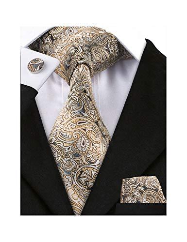 (Barry.Wang Mens Brown Yellow Silk Woven Necktie Set Paisley Tie Pocket Square Cufflinks)