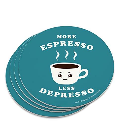 More Espresso Less Depresso Depression Coffee Funny Humor Novelty Coaster Set