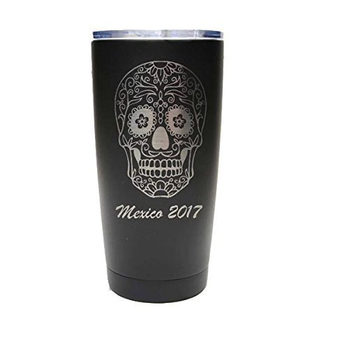 Sugar Skull Tumbler - 20 oz Black Stainless Steel with Clear