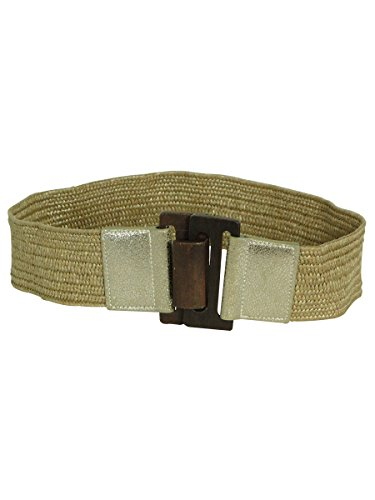 Nine West Women's Stretch Straw Belt with Metallic Gold Tab, Gold, (Belted Straw Belt)