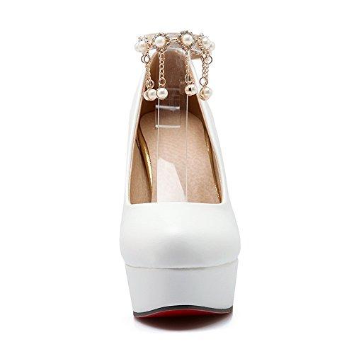 Balamasa Dames Kwastjes Kraal Metalen Ketting Geïmiteerd Lederen Pumps-schoenen Wit