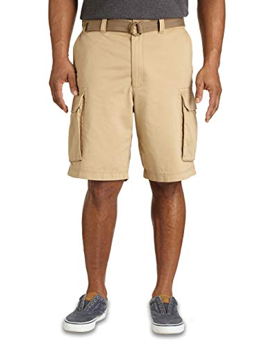 (True Nation by DXL Big and Tall Broken-in Twill Cargo Shorts, Khaki 58)