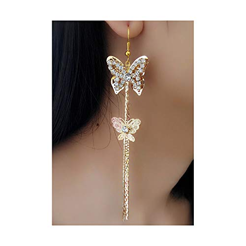 (Lovely Double Butterfly Crystal Long Tassel Dangle Earrings for Women Girl Fashion Jewelry Accessories (Gold))