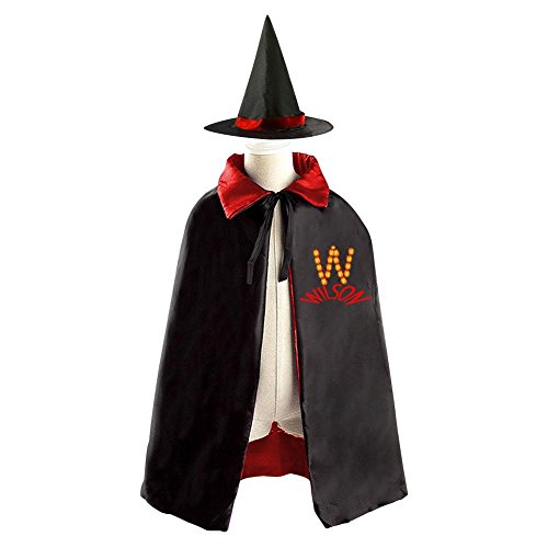Childrens' Halloween Letter W Costume Cosplay Wizard Witch Cloak Cape Robe And Cap Hat Set - Letter W Halloween Costumes