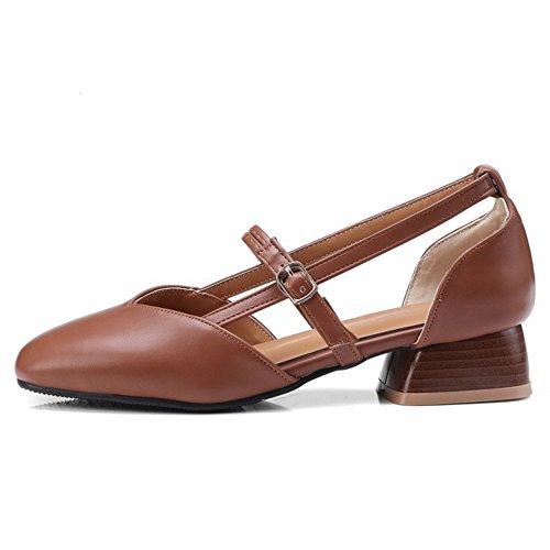 Carre Bas Talons Printemps Brown Chaussures Femmes Bout TAOFFEN x7qI5nwYUt