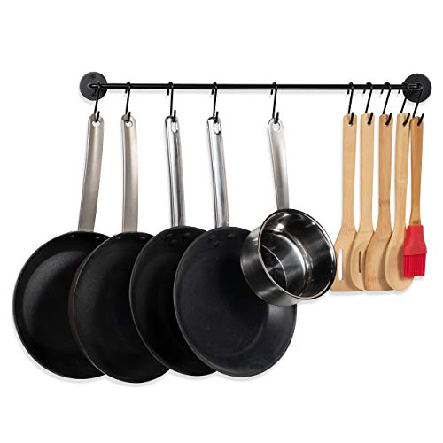 Fasthomegoods Steel Gourmet Kitchen 24 Inch Wall Rail and 10 S Hooks Utensil Pot Pan Lid Rack Storage Organizer Set, Black