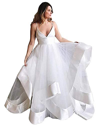 olise bridal Romantic Wedding Dresses V-Neck Spaghetti Straps Sleeveless Backless Long Bridal Gowns Women Bride ()