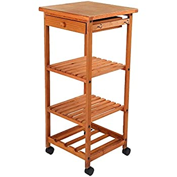 Amazon.com - ULTIDECO Utility Wooden Kitchen Rolling Cart with ...