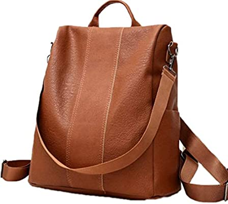 Amazon.com: Pupabag Women Leather Backpack College Preppy School Bag Daily Back Pack Shop Trip Brown 32X31X15cm: Toys & Games