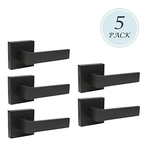 Premium Matte Black Heavy Duty Door Lever Dummy Door Handle Set Door Hardware Flat Shape, Door Handles, Interior Door Handles 5 Pack 0.93 lb One Lever
