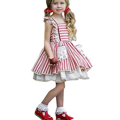 Girl Dress,Longay Toddler Kids Baby Girls Striped Lace Ruffled Princess Cake Pompous Party Dress (5-6 Years) ()