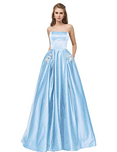 (Libaosha Satin Strapless Formal Gowns With Beaded Pockets Lace Up Back Prom Dresses Long (US10, Sky)
