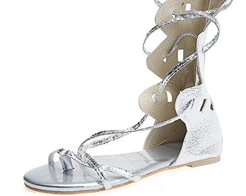 VogueZone009 Women Solid Pu Low-Heels Zipper Open-Toe Sandals Silver