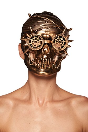 KII Antiqued Gold Steampunk Skull Mask with Goggles and Spikes (Unisex; One Size Fits Most)