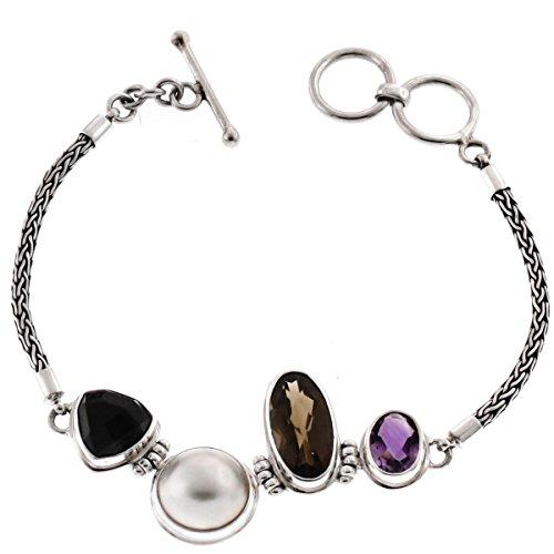 "Onyx Smokey Quartz Amethyst White Mabe Cultured Pearl 925 Sterling Silver Bracelet, 7""- 7 1/2"""