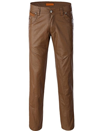 Guytalk Men's Fashion Slim Straight Leather Look Wax Coated Bikers Pants BROWN (Brown Leather Pants)