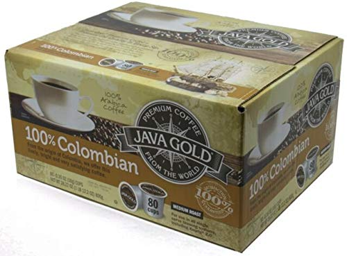 Java Gold 100% Colombian Medium Roast Coffee (For Use in All Single Serve Brewing Systems, Including Keurig 2.0)-80 Ct K-cup ()