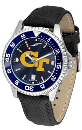 Georgia Tech Yellow Jackets Competitor AnoChrome Men's Watch with Nylon/Leather Band and Colored Bezel by SunTime