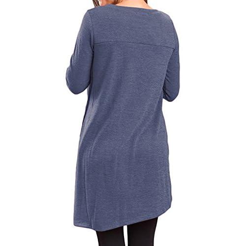 c951043b163 Halife Women s Casual Round Neck Long Sleeve Oblique Hem Side Button Tunic  Tops