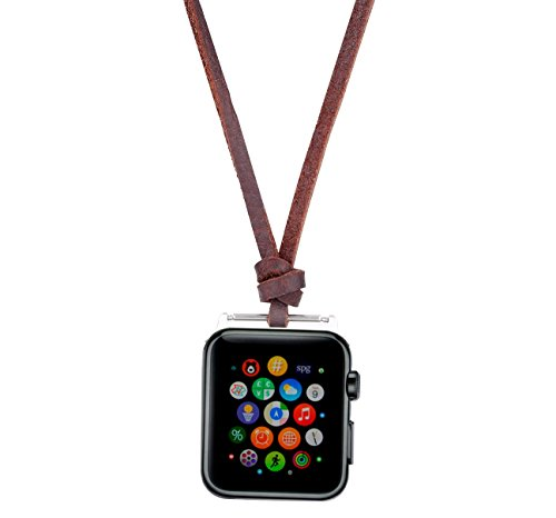 Compatible for Apple Watch Necklace Handmade Necklaces Accessories Adaptor for Apple Watch Series 1 2 3 4 Neck Strap Chain Fit Apple 40mm SmartWatch All Models [40 mm -Brown] ()