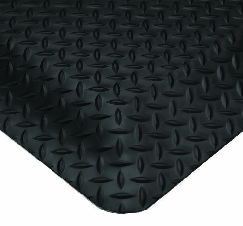 Wearwell PVC 497 Smart Diamond-Plate Medium Duty Anti-Fatigue Mat, Tapered Edges, for Dry Areas, 2' Width x 75' Length x 5/8'' Thickness, Black by Wearwell Industrial