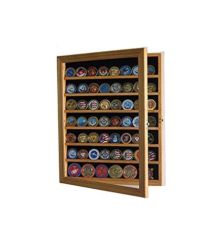 Lockable Military Challenge Coin Display Case Cabinet Rack Holder (Oak Finish)