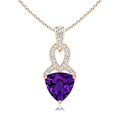Angara Trillion Amethyst Drop Pendant with Diamond in 14K Rose Gold R9S045MLD