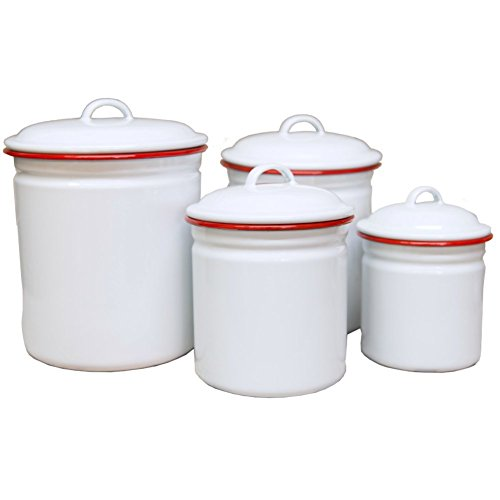Enamelware Canister Set, 4 piece, Vintage White/Red
