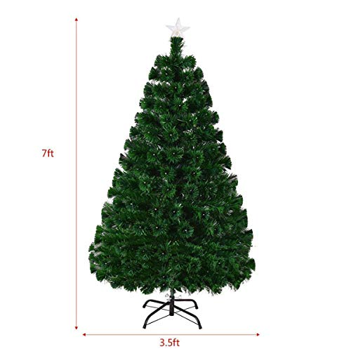 Goplus Artificial Christmas Tree Pre-Lit Optical Fiber Tree 8 Flash Modes W/UL Certified Multicolored LED Lights & Metal Stand (7 FT) by Goplus (Image #3)