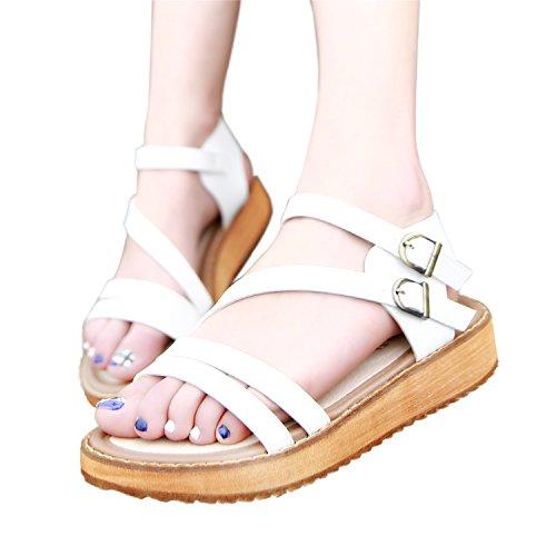 Ouvert Blanc Coix Bout Lanière Fermeture Sandales Gladiateur Double Femme Sandales Romaines Smilun Chaussure Compensées wXSR6Rf
