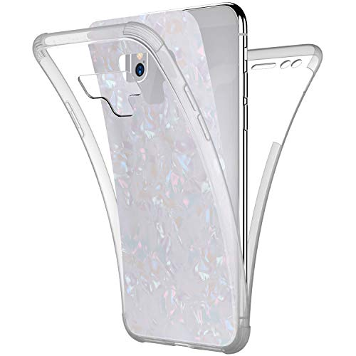 Price comparison product image Case for Galaxy Note 9, [Full-Body 360 Coverage Protective] Crystal Clear 2in1 Bling Glitter Shell Pattern Front Back Full Coverage Soft TPU Silicone Rubber Case Cover for Galaxy Note 9 Case, White
