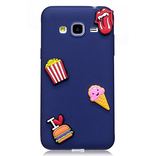 Funda Samsung Galaxy J3 2016 SM-J320F Carcasa Protectora Lindo OuDu **Diseño 3D** Funda para Samsung Galaxy J3 2016 SM-J320F Caso Silicona TPU Funda Suave Soft Silicone Case Cover Bumper Funda Ultra D Azul oscuro