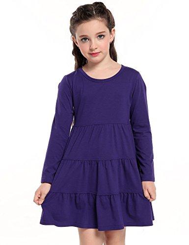 r Soft Cotton Long Sleeve Tiered Dress,Purple,110 (Purple Soft Dress)