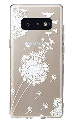 for Galaxy S10e Case,3Cworld Ultra Thin Clear Art Pattern Crystal Gel TPU Rubber Flexible Slim Skin Soft Case for Samsung Galaxy S10E 5.8 inch (2019) (Dandelion/Bird Flying-White) (Best Headphones For Flying 2019)