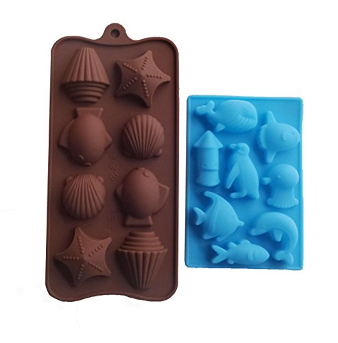 Yunko 8 Cavity Ocean Chocolate Silicone Mold Ice Cube Candy Mould Fudge Mold 2 Pcs /Set Dolphin Whale Squid Penguin (Halloween Cake With Dry Ice)