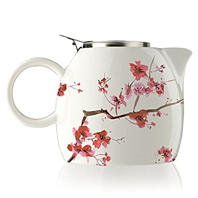 Tea Forte PUGG 24oz Teapot with Tea Infuser, Cherry Blossoms