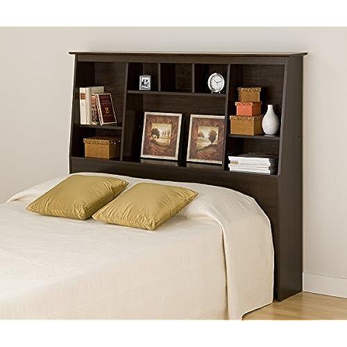 Espresso Full Queen Tall Slant Back Bookcase Headboard