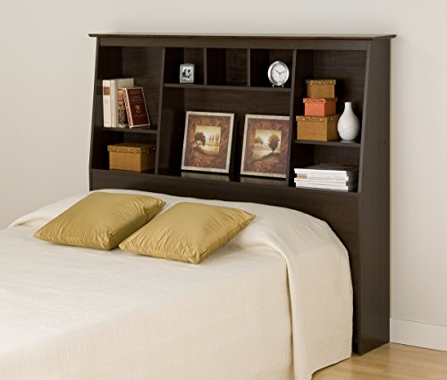 Espresso Full/Queen Tall Slant-Back Bookcase Headboard - Tall Storage Platform Bed