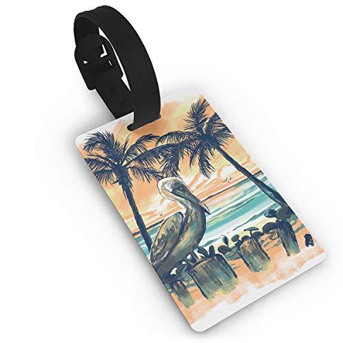 Diemeouk Luggage Tags Suitcases Pelican Sunset Tree PVC