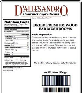 First Quality Wood Ear Mushroom, 1 Lb Bag by D'allesandro