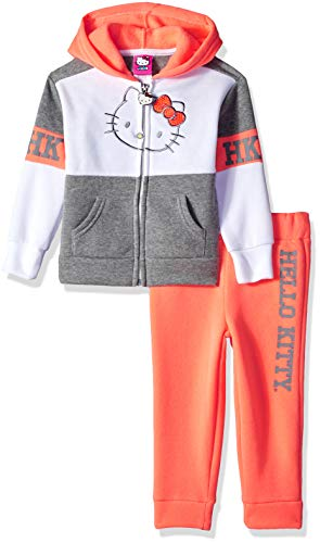 Hello Kitty Toddler Girls 2 Piece Hooded Fleece Active Set, Coral/Gray, 2T - Baby Sweater Set