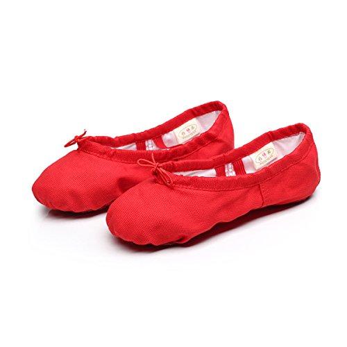 Baysa Frauen Leinwand Ballett Hausschuhe Split Sole Gymnastik Yoga Schuhe rot