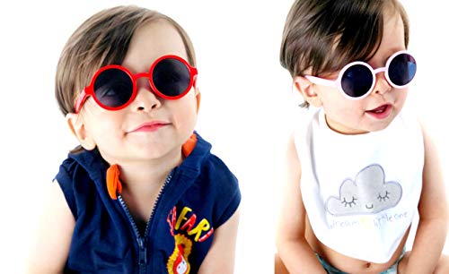 Kd3008 Baby Infant Toddlers Age 0~36 Months Round Retro Sunglasses (2-pack Red&Pink)