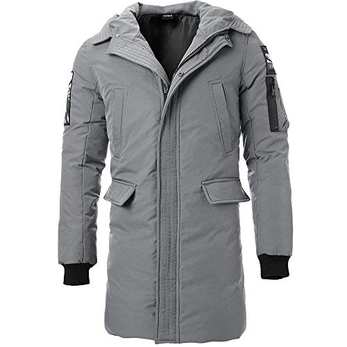 BOLAWOO Men's Boys Winter Down Jacket Coat Quilted Hooded Jacket Fur Long Fashion Brands Coat Cotton Parka 3 Colors Grau