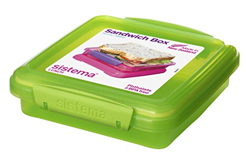 Sistema Lunch Collection Sandwich Box Food Storage Container, 15.2 Ounce/1.9 Cup, Assorted Colors