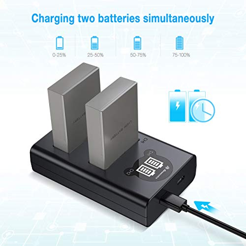 Powerextra 2 Pack Battery & Dual USB Charger with Smart LCD Display for Olympus BLS-5, BLS-50, PS-BLS5 and Olympus OM-D E-M10, Pen E-PL2, E-PL5, E-PL6, E-PL7, E-PM2, Stylus 1