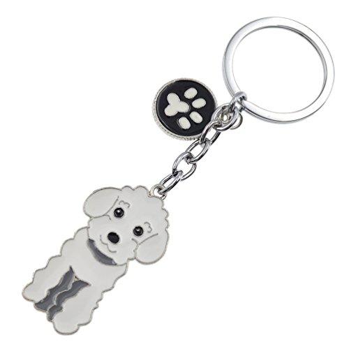 Cute Pet Dog Keychain Alloy Enamel Corgi Husky Poodle Keyring Love Tag Charm - Charm 3d Poodle