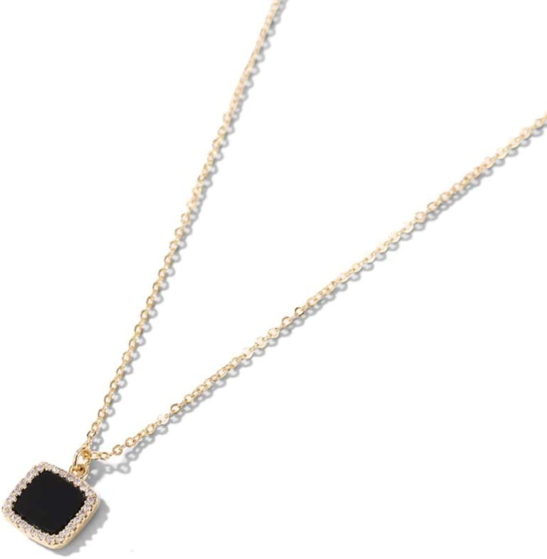 Matte black square necklace dainty charm necklace short simple chain necklace gold pendant minimalist necklace geometric jewelry Squared N